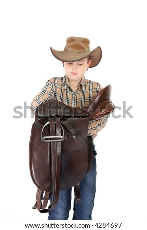 Cowboy Carrying Saddle Stock Images Royalty Free Images