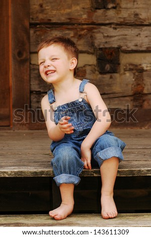 Country Boy Cracks Up! - stock photo