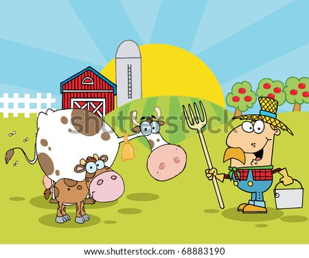 Country Farm Scene With Cows And Cowman