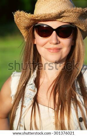 country farmer girl - stock photo