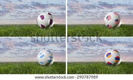 Country Flag, Soccer Ball on Grass, nature 3D render, Realistic 3D style, Qatar, Argentina, USA, Armenia (3D Render Art) - stock photo