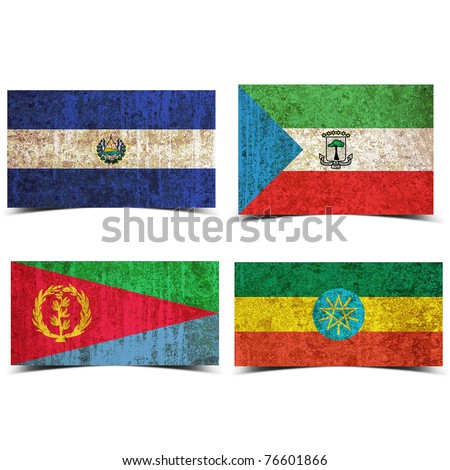 Country flag with grunge old rusty paper elsalvador equatorial guinea eritrea ethiopia - stock photo