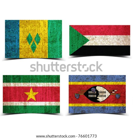 Country flag with grunge old rusty paper St Vincent Sudan Suriname swaziland