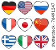 Country flags in glossy heart shapes - stock photo