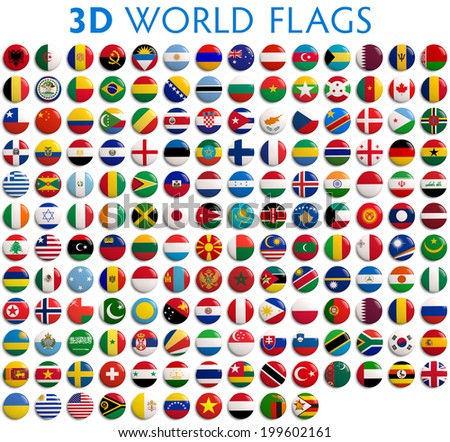 Country flags of the world - 3D realistic.   - stock photo