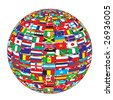 country flags on ball raster image of vector - stock vector