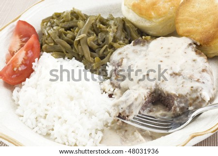 white flash fried steak with white flash fried steak white bean