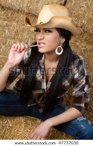 Country Girl in Barn