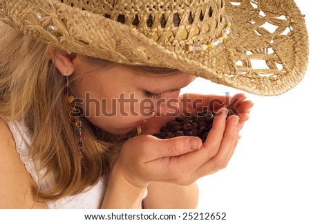 country girl with coffee beans on white - stock photo