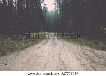 country gravel road in the forest. latvia. - retro, vintage style look - stock photo