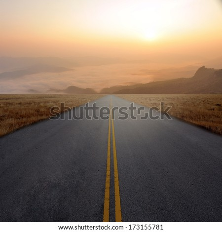 Country Highway and sunset - stock photo