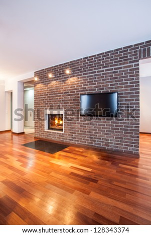 Country Home Brick Wall Contemporary Living Stock Photo 128343374