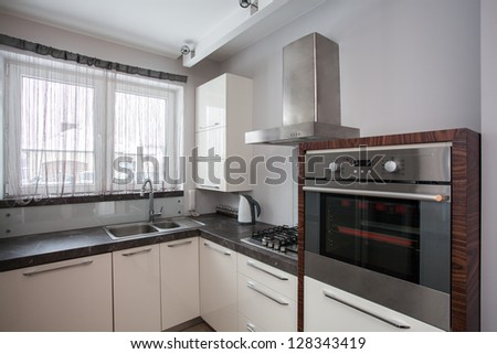 Country home - Equipment of new modern kitchen - stock photo