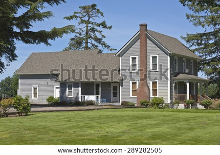 Country home in the Willamette valley rural Oregon. - stock photo
