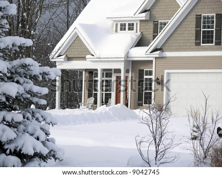 country home in winter - stock photo