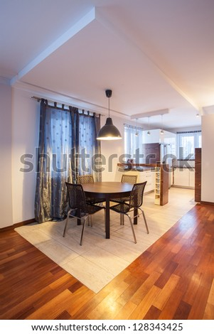 Country home - interior of dining room, table - stock photo