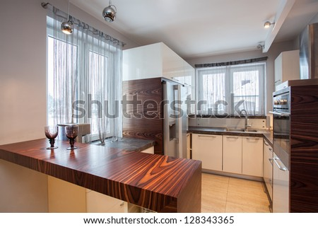Country home - Interior of wooden brown kitchen - stock photo