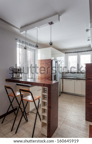 Country home - stylish bright kitchen - stock photo