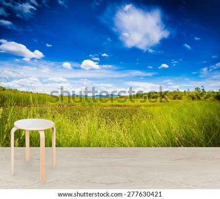 country home terrace with wooden stool - stock photo