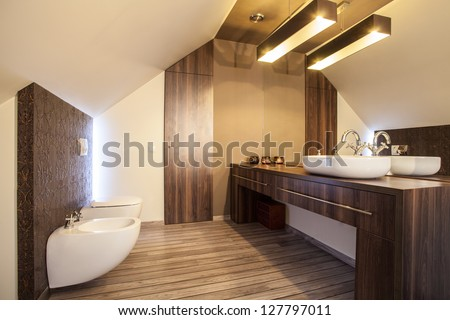 Country home - wooden countertop in a modern bathroom - stock photo