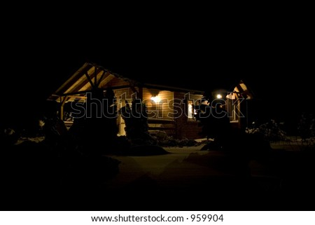Country house at night - stock photo