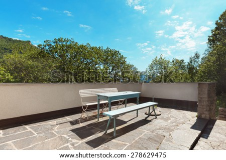 country house in the woods, terrace, flooring stone