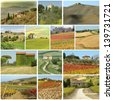 country houses in  scenic tuscan landscape  - collage   - stock photo