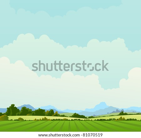 Country Landscape Background/ Illustration of a country poster background in spring or summer season, and also beginning of autumn - stock photo