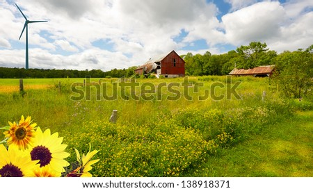 Country landscape.  Wide angle summer farm with flowers, and a wind turbine in the distance. - stock photo
