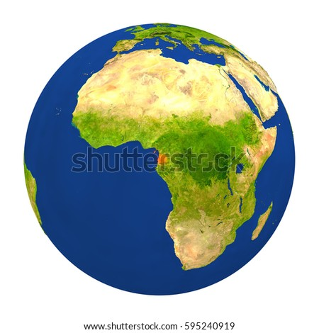 Country of Equatorial Guinea highlighted on globe. 3D illustration with detailed planet surface isolated on white background. Elements of this image furnished by NASA.