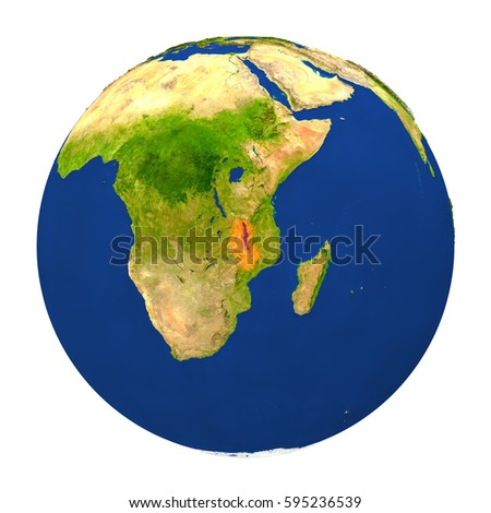 Country of Malawi highlighted on globe. 3D illustration with detailed planet surface isolated on white background. Elements of this image furnished by NASA.