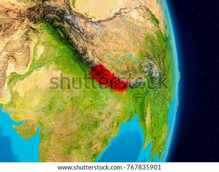 Illustration Nepal Seen Orbit On Planet Stock Illustration - What country is nepal in