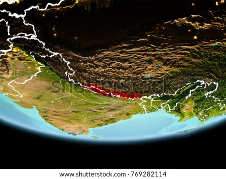 Country Nepal Red On Planet Earth Stock Illustration - What country is nepal in