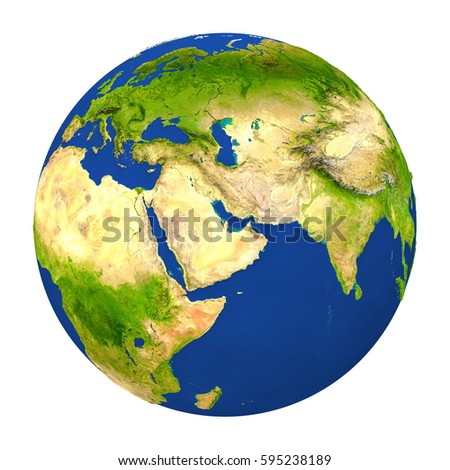 Country of Qatar highlighted on globe. 3D illustration with detailed planet surface isolated on white background. Elements of this image furnished by NASA.
