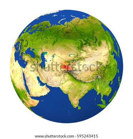 Country of Tajikistan highlighted on globe. 3D illustration with detailed planet surface isolated on white background. Elements of this image furnished by NASA.