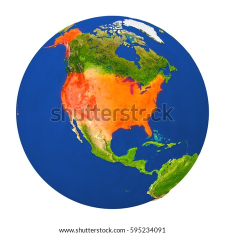 North America Globe Map Country Different Stock Illustration - Usa globe map
