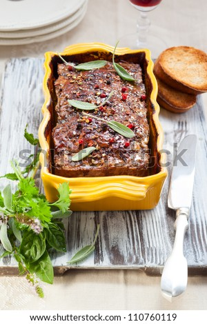 country pate with meat and liver
