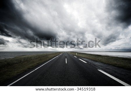 Country road and bad weather.