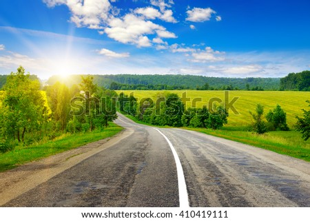 country road and beautiful sunset