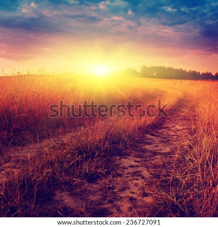 Country road and colorful sunset in vintage style. - stock photo