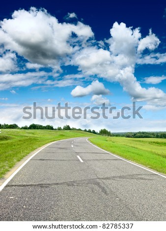 Country road at summer sunny beautiful day