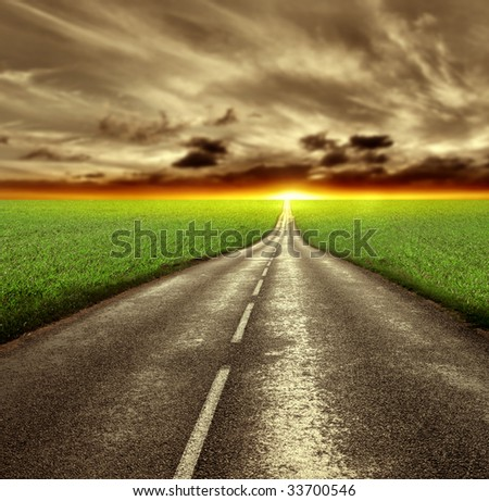 country road at the sunset
