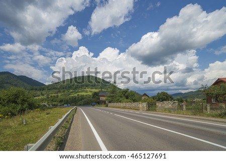 country road at the ukraine carpathian