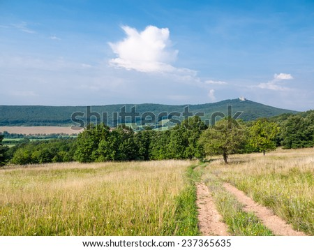 Country road between pasture and forest with deep blue sky and castle ruins on a hill at a distance - stock photo