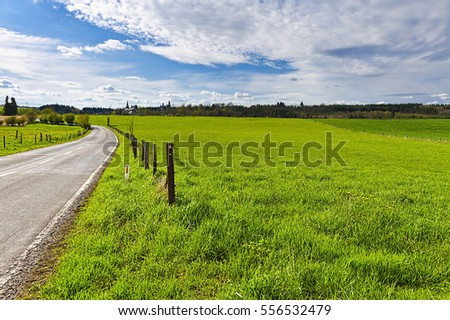 Country road between spring fields with green grass in Belgium. Belgian landscape with meadow and pasture