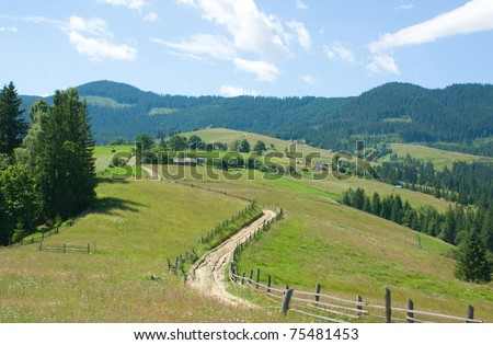 Country Road. Carpathian Mountains, Ukraine - stock photo