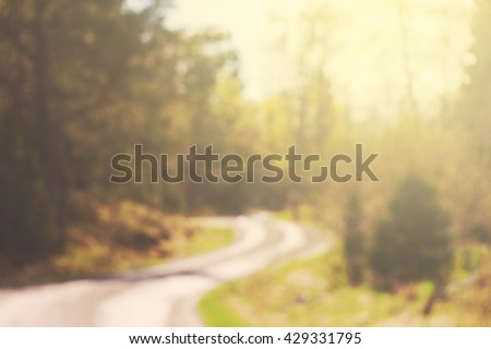 Country road defocused during a sunny summer day. Sweden - stock photo