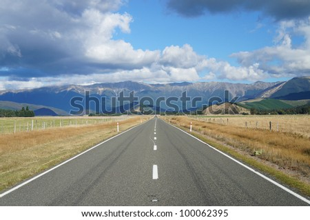 Country Road - Highway 63 in Newzealand - stock photo