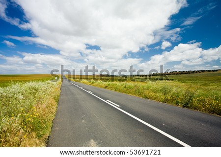 Country road in Alentejo, Portugal - stock photo