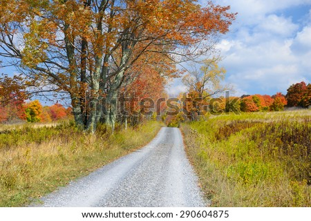 Country Road in Autumn in West Virginia - stock photo
